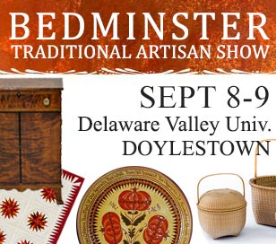 For just an $8 entry fee per person, you can shop over 30 top period artisans gathering from many states with many historic crafts, trades, and artwork including Shaker boxes, floorcloths, redware pottery, tinware, hooked rugs, theorem paintings, grandfather clocks, period furniture, stained glass, historic signs, fraktur, and more on display and available for purchase or commission. All items at this Bedminster Traditional Artisan Show are heirloom quality, hand-made traditional items.