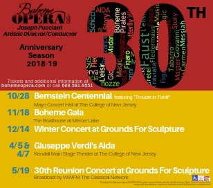 BOHEME OPERA NJ KICKS OFF MILESTONE 30TH ANNIVERSARY SEASON WITH BERNSTEIN'S